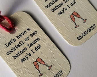 Hen party tags, gift bag tags, Cocktail, Drink tags, hen party, cocktail tags, bridal party.