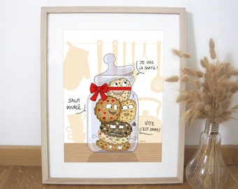 Art print illustration cookies 30x40 cm, kitchen decoration