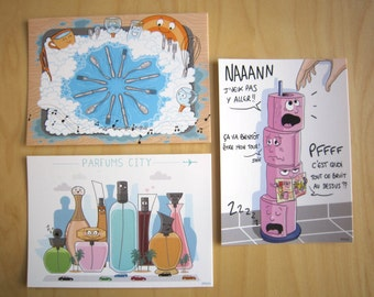 Lot of 3 postcards, Pack 3 Objects: Sink, perfumes, toilet paper