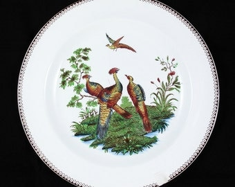 Vintage Wedgwood Etruria England Salad Plate with Liverpool Birds Multi-color Pattern  and Brown Trim, 1982