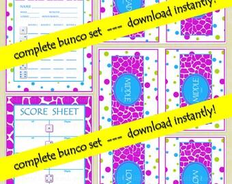 Printable Pink Pop of Fun Bunco Set