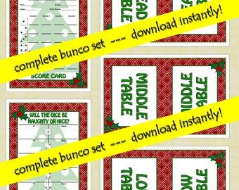 Printable Bunco Christmas Set
