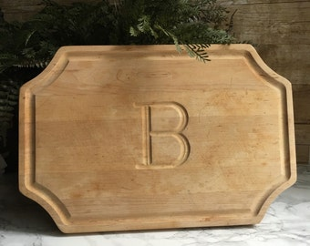 Wooden Cutting Board with B monogram