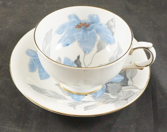 Windsor Cup & Saucer FLOWERS With GREY LEAVES