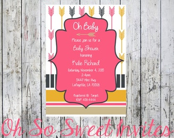 Arrow Girl Baby Shower Invite - Arrow baby shower - Girl Baby Shower Invitation