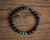 Nile Bracelet, African Turquoise Bracelet, African turquoise beads, Onyx Beads, Onyx Bead Bracelet, Mens Jewelry, Mens Bracelet
