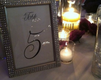 Bling table numbers for wedding/reception