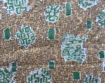 Mid-century Abstract Print Fabric, Yardage