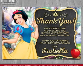 Snow White thank you card - Disney Princess Snow White card - Snow White Birthday Greeting Card - Disney Princess Snow White Party
