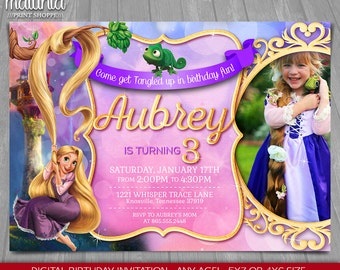 Tangled Invitation - Disney Rapunzel Invite - Tangled Rapunzel Birthday Invitation - Princess Rapunzel Birthday Party with photo