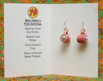 Mad Hatter's Pink Earrings.