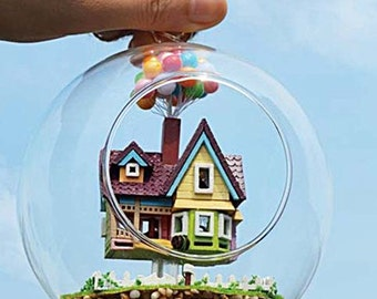 DIY Kit Set Doll House, UP Balloon House in Glass Ball Container, Toy for kids, Dollhouses Decoration Home Decor