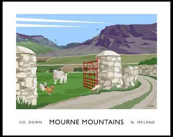 Mourne Mountains - vintage style railway travel poster art of Ireland