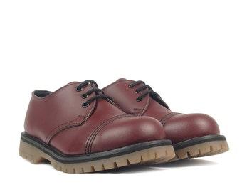 ADIX® Boots cherry 3-eyelet steel cap leather handmade grunge underground punk derby military old school