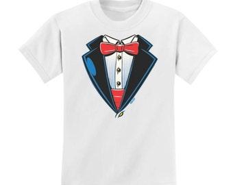 Wedding Tuxedo & Bow Tie White Toddler T-Shirt
