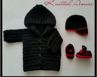 Crochet Baby Sweater, Baby Jacket, Hooded Baby Sweater, Newsboy Hat, Baby sneakers, Adidas sneakes, Baby Bootie, Black, Photo Prop