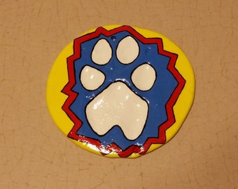 Painted Clay Paw Print- Superhero