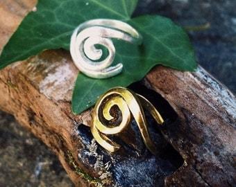 "Brass Adjustable ring ""Spiral"""