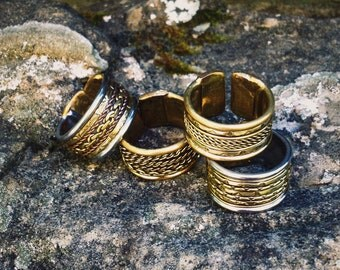 Adjustable brass and metal Braid ring