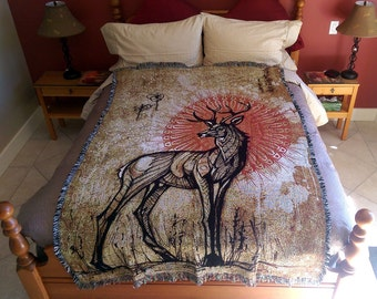 Stag - Blanket. Totem Animal Inspired Visionary Art Home Decor