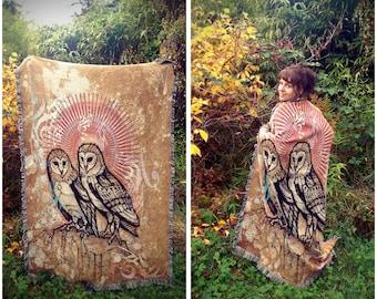 Twins - Blanket. Totem Animal Inspired Visionary Art. Owls, Sacred Symbol of Wisdom. Home Decor