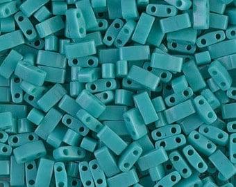 Half Tila Opaque Turquoise Green #412  Miyuki Seed Beads - 10 grams