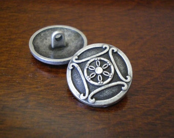 """2 - Designer Metal Buttons with Shank  3/4"""" (20mm)"""