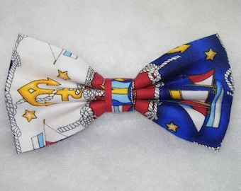 Anchors and Ships Pre-tied Bow Tie | Sailboats | Nautical bow ties | Anchor ties | Blue bow ties | Sailing ties | bow ties for boys | Flags