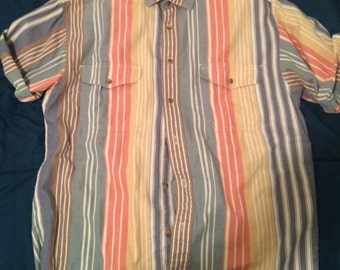 vintage eddie bauer striped short sleeve L