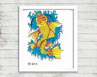 Koi Fish Art, Fish Drawing, Tattoo Art, Colorful Art, Mixed Media Drawing, Print