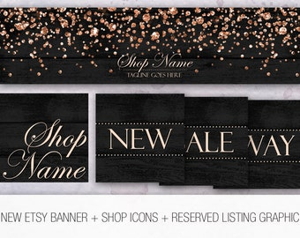 NEW Etsy banner and shop icon set + Reserved listing graphic