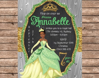 PERSONALIZED Tiana, The Princess And The Frog, Disney Princess Invitation  - Instant Digital Download, Birthday Party Supplies