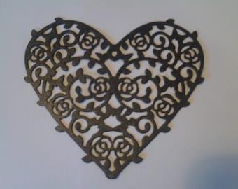 20 Gothic 'Halloween' Black Heart Die Cuts, Cards, Invitations, Scrapbooking.