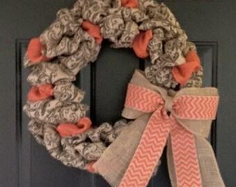 Printed Burlap Wreath