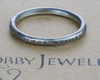 Textured Wire Silver Stacking Ring