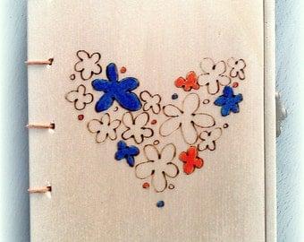 Wooden lockable heart of flowers book