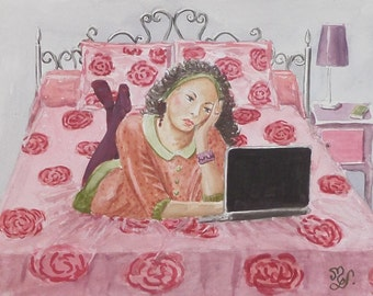 """Original watercolor painting portrait woman romantic """"seeks the amour.com"""""""