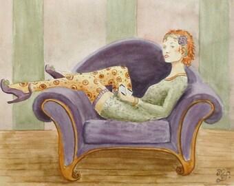 Original watercolor painting portrait woman lazy teenager