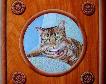 Tabby cat in setting portrait oil painting wood trompe-l'oeil