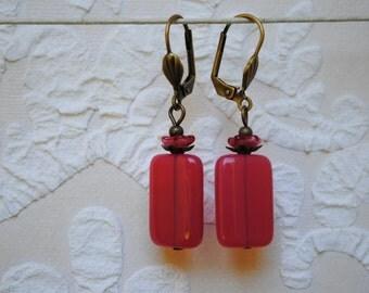 Raspberry pink resin earrings