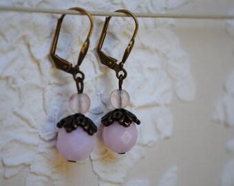 Earrings pink Bohemian glass