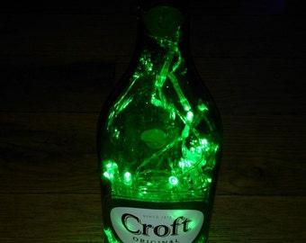 Upcycled Battery operated led light bottle