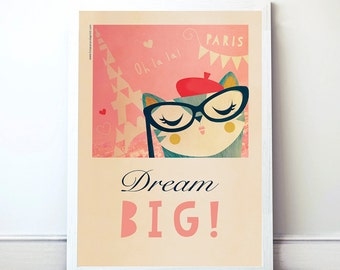 Print Wall decor. Paris, Dream Big. A4 Instant Download. PDF File.