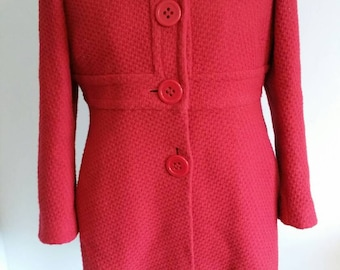 Red vintage style wool mix coat. Large buttons. Petite.