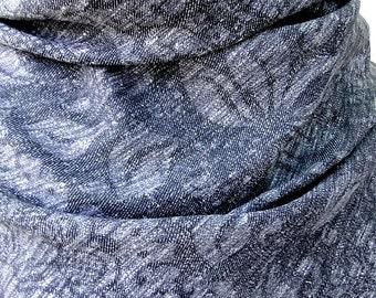 Hemp linen fabric in heather grey or indigo, lightweight hemp cloth, linen cloth damask fabric, natural hemp, grey linen, SOLD BY 1/2 YARD