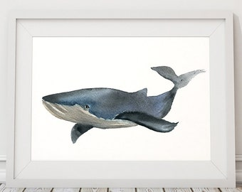 Whale poster Nursery print Watercolor art ACW19