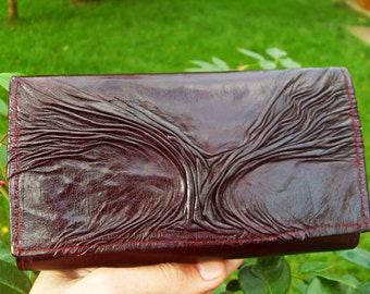 "Tree designed Leather Women""s Purse / Wallet, Eggplant"