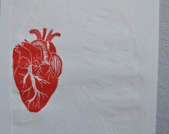 Rib Cage and Heart Embossed Print - Original Linocut