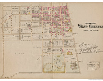 West Chester, PA South Ward Breous Atlas 1883 Reproduction