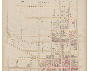 West Chester, PA West Ward Breous Atlas 1883 Reproduction